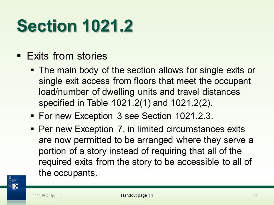 Section 1021.2 Exits from stories