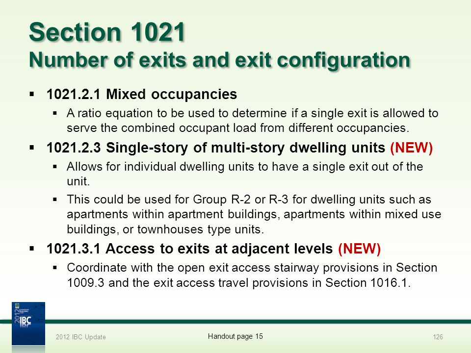 Section 1021 Number of exits and exit configuration