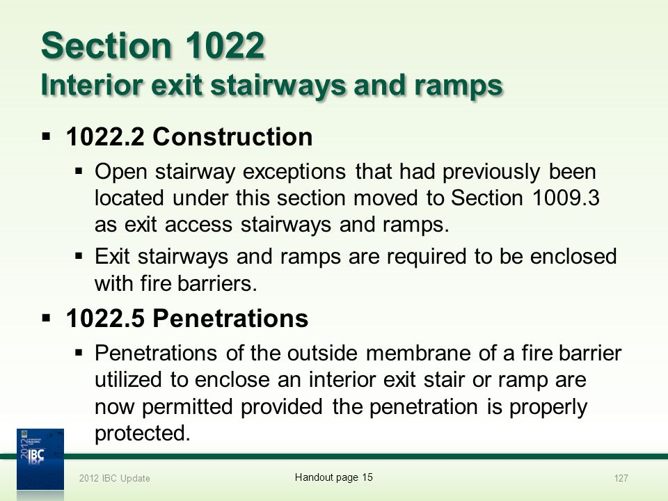 Section 1022 Interior exit stairways and ramps
