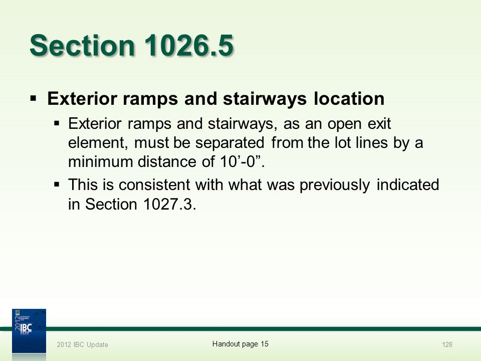 Section 1026.5 Exterior ramps and stairways location