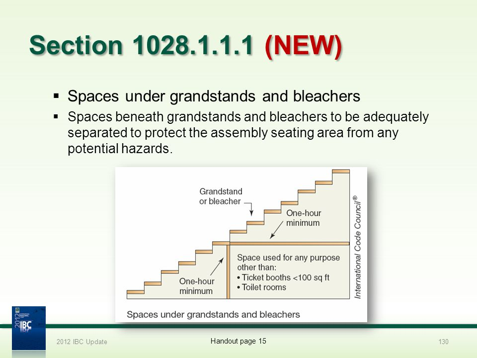 Section 1028.1.1.1 (NEW) Spaces under grandstands and bleachers
