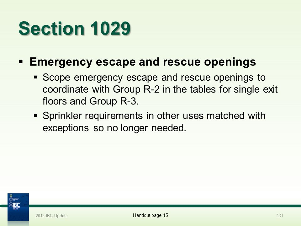 Section 1029 Emergency escape and rescue openings