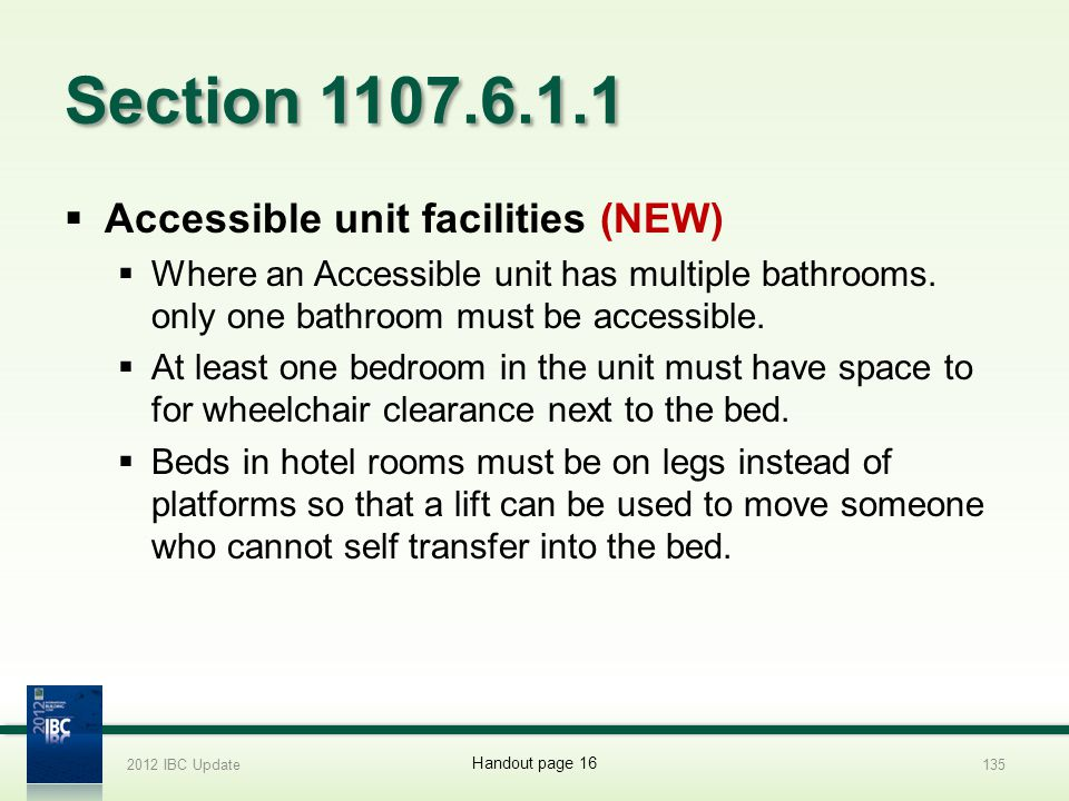 Section 1107.6.1.1 Accessible unit facilities (NEW)