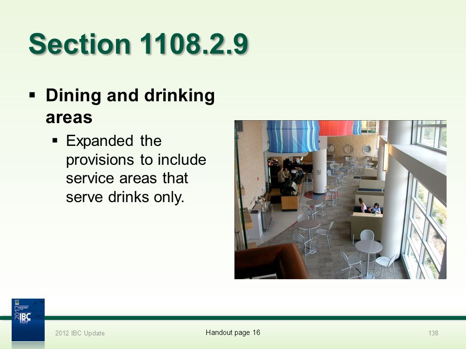 Section 1108.2.9 Dining and drinking areas