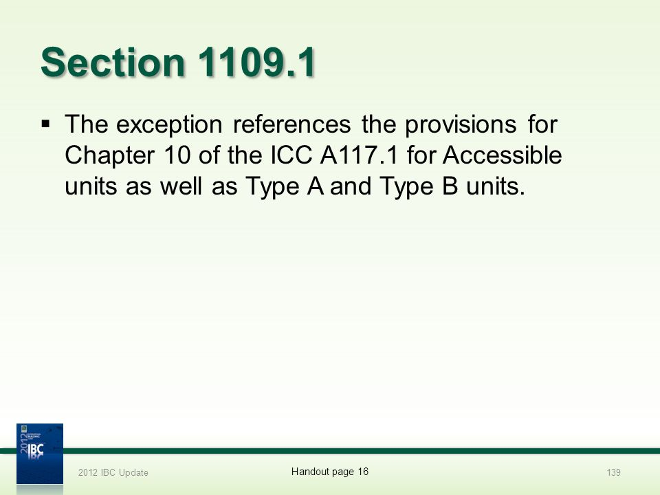2012 IBC Update 4/1/2017. Section 1109.1.