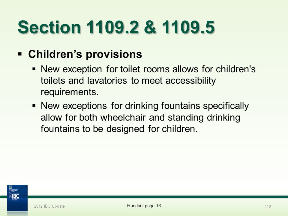 Section 1109.2 & 1109.5 Children's provisions