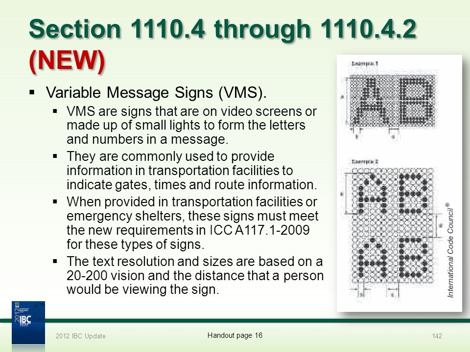 Section 1110.4 through 1110.4.2 (NEW) Variable Message Signs (VMS).