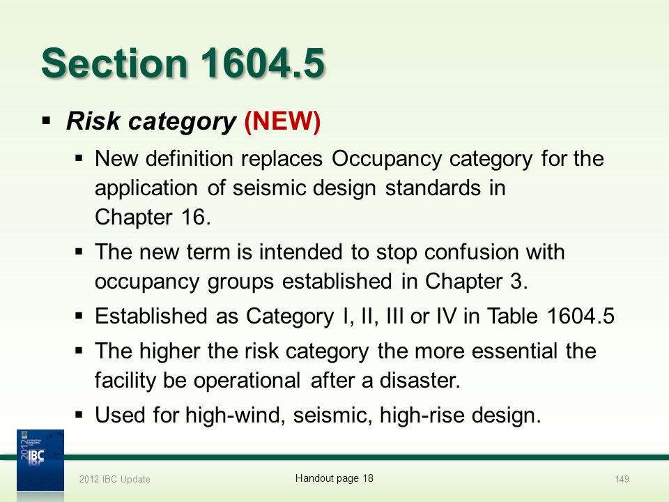 Section 1604.5 Risk category (NEW)