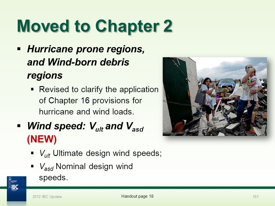 2012 IBC Update 4/1/2017. Moved to Chapter 2. Hurricane prone regions, and Wind-born debris regions.
