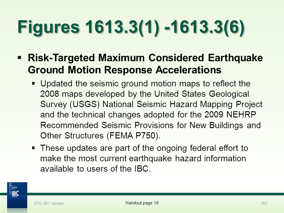2012 IBC Update 4/1/2017. Figures 1613.3(1) -1613.3(6) Risk-Targeted Maximum Considered Earthquake Ground Motion Response Accelerations.
