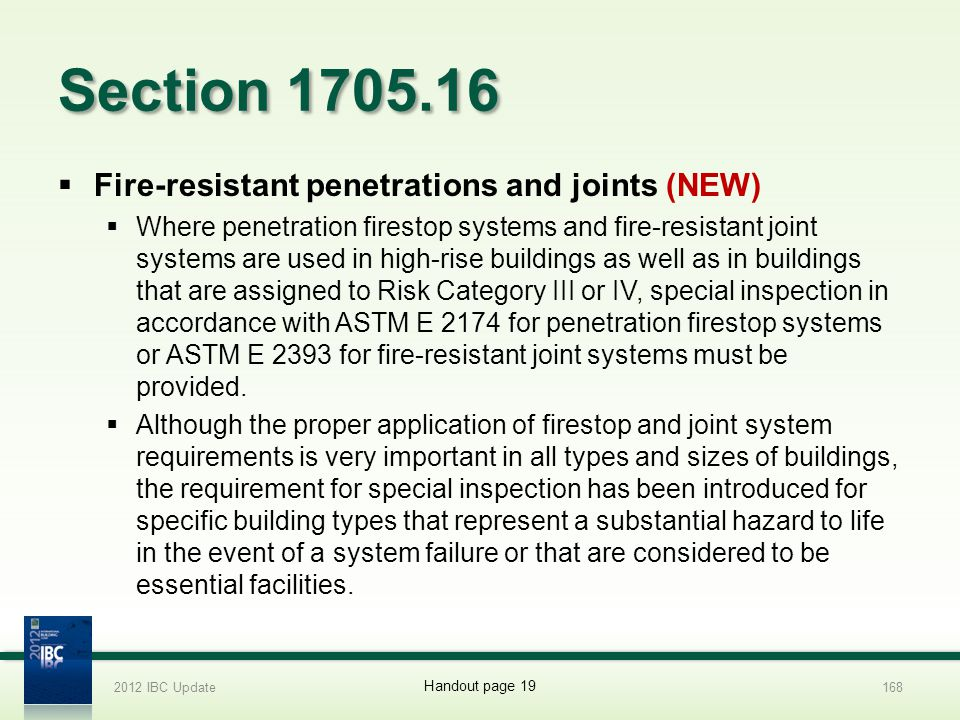 Section 1705.16 Fire-resistant penetrations and joints (NEW)