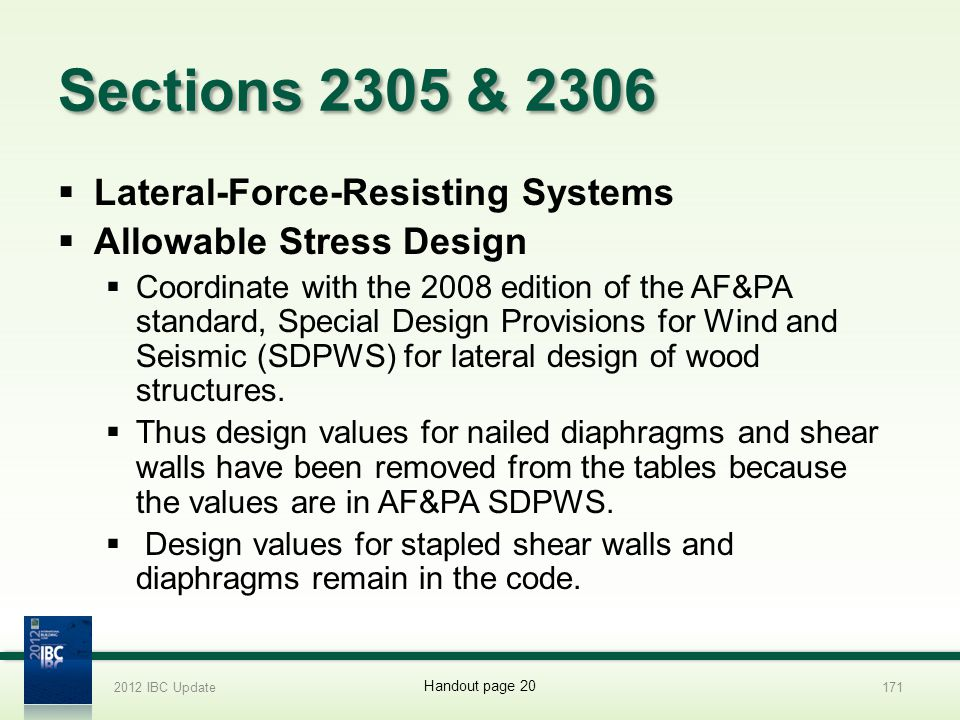 Sections 2305 & 2306 Lateral-Force-Resisting Systems