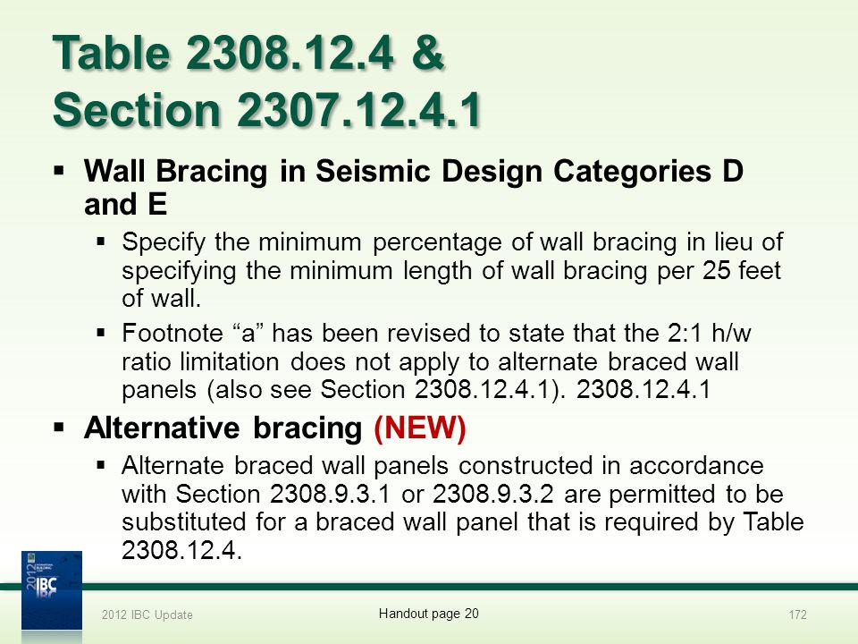2012 IBC Update 4/1/2017. Table 2308.12.4 & Section 2307.12.4.1. Wall Bracing in Seismic Design Categories D and E