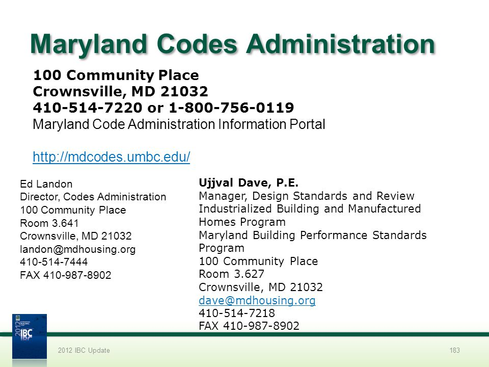 Maryland Codes Administration