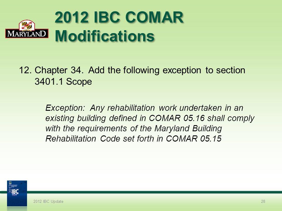 2012 IBC COMAR Modifications