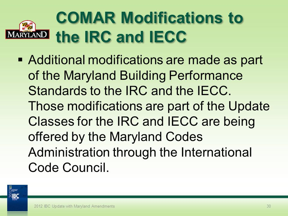 COMAR Modifications to the IRC and IECC