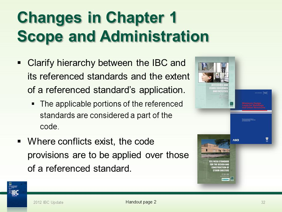 Changes in Chapter 1 Scope and Administration