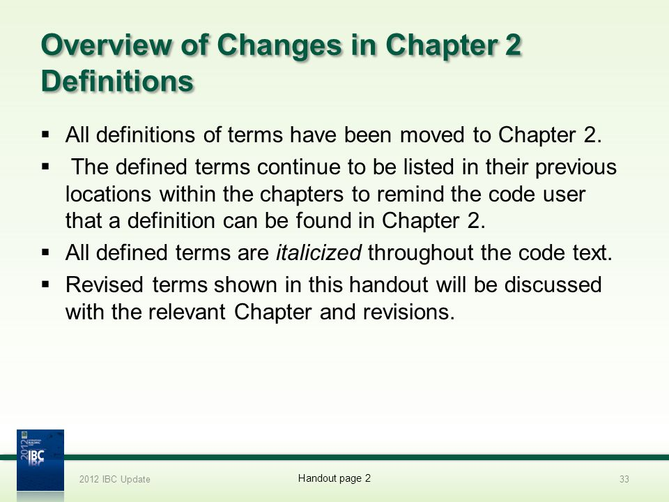 Overview of Changes in Chapter 2 Definitions