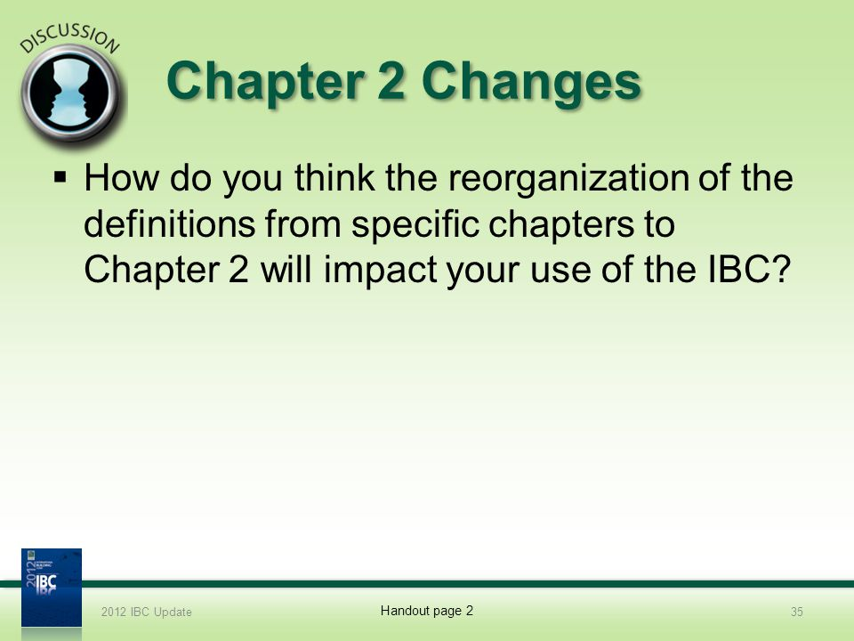 2012 IBC Update 4/1/2017. Chapter 2 Changes.