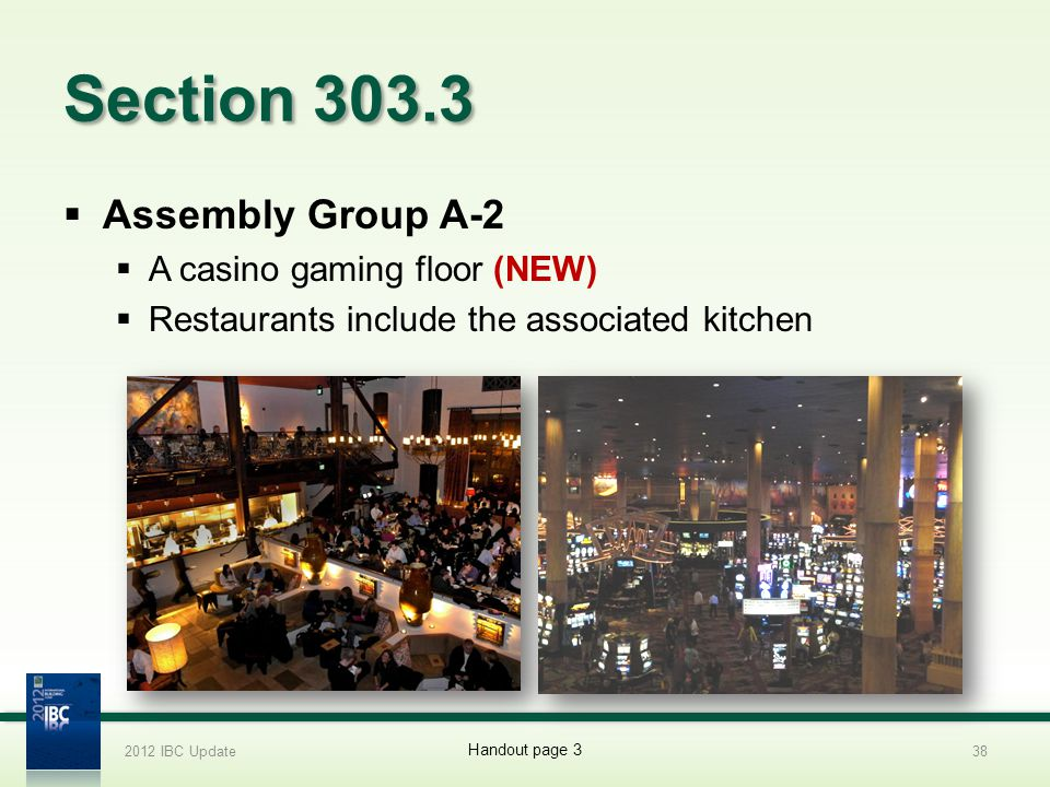 Section 303.3 Assembly Group A-2 A casino gaming floor (NEW)