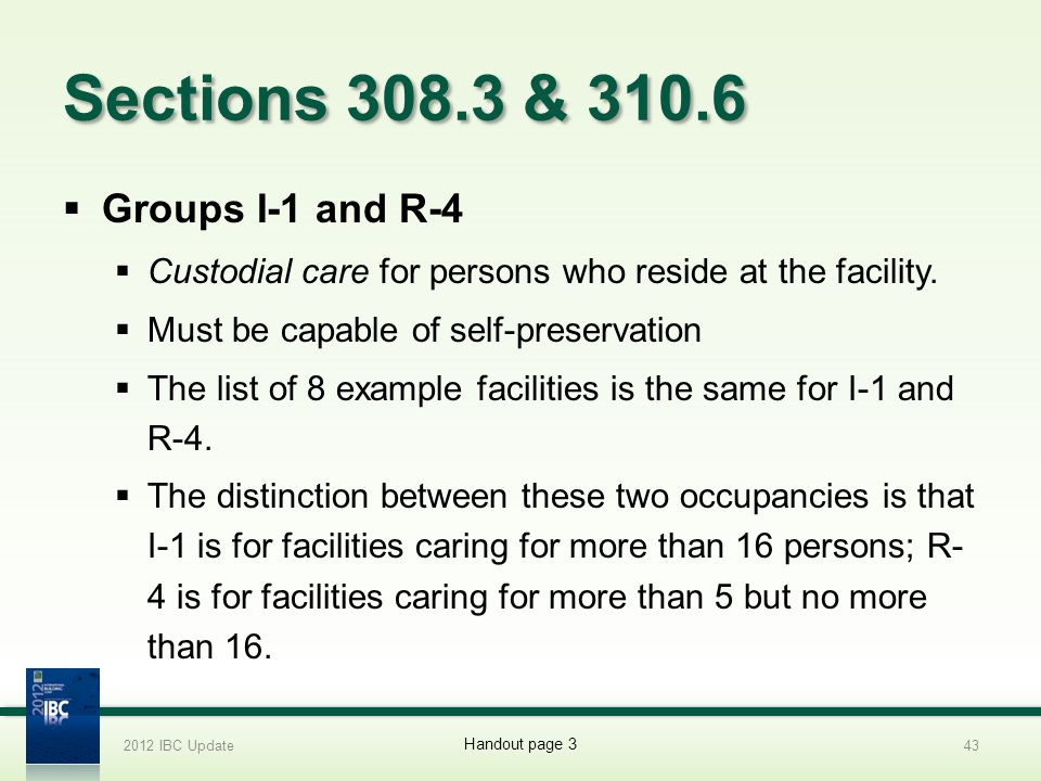 Sections 308.3 & 310.6 Groups I-1 and R-4