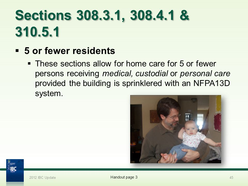 Sections 308.3.1, 308.4.1 & 310.5.1 5 or fewer residents
