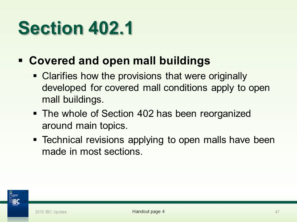 Section 402.1 Covered and open mall buildings