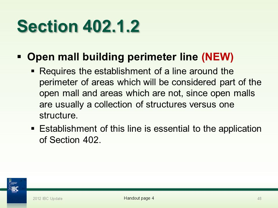 Section 402.1.2 Open mall building perimeter line (NEW)