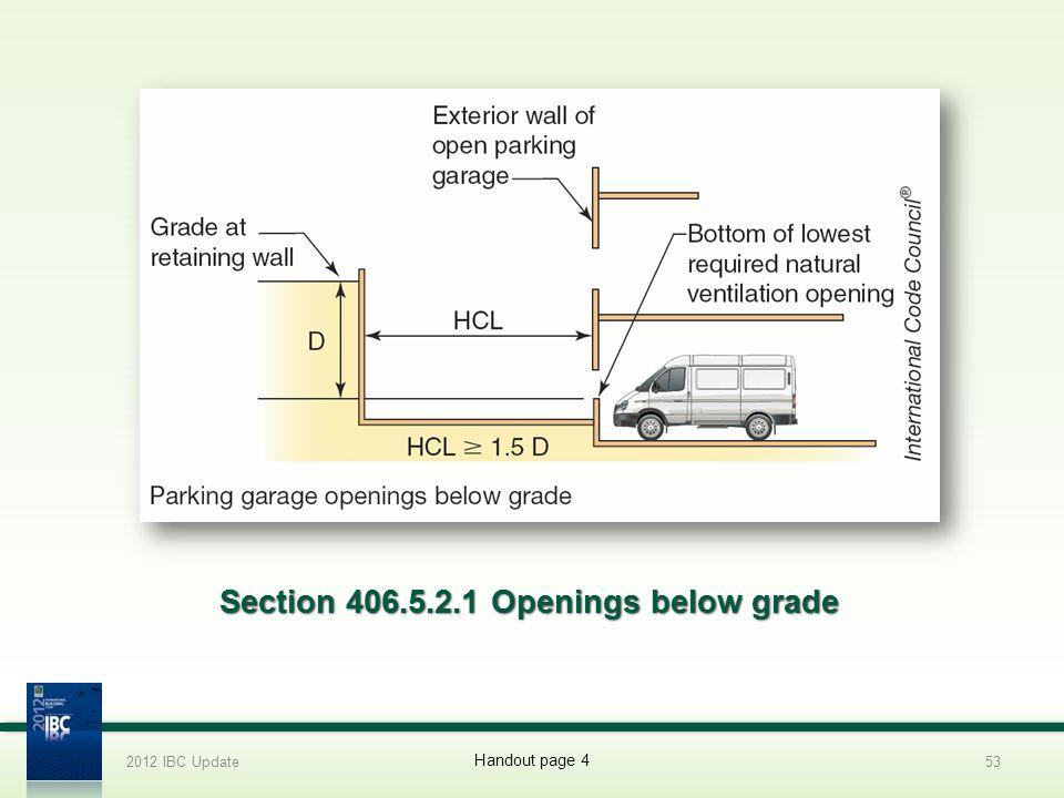 Section 406.5.2.1 Openings below grade