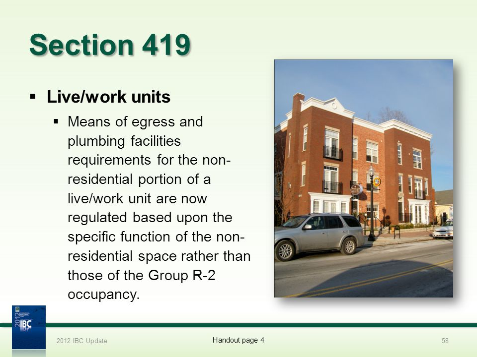 Section 419 Live/work units