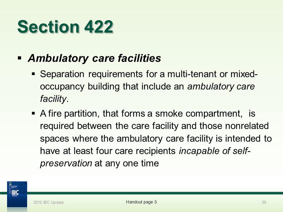 Section 422 Ambulatory care facilities