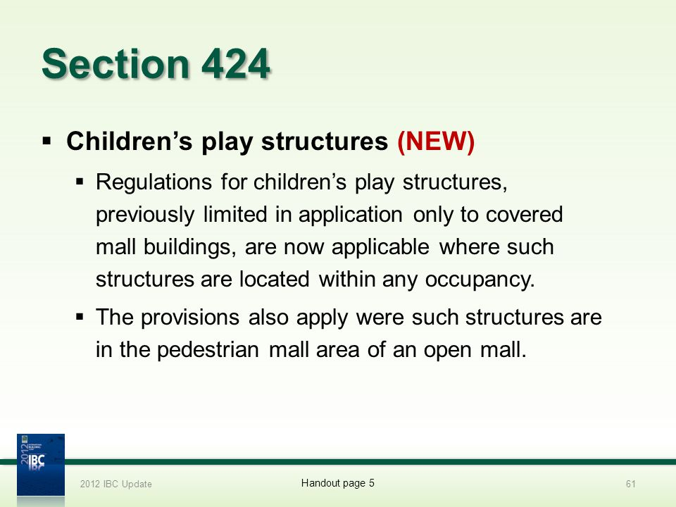 Section 424 Children's play structures (NEW)