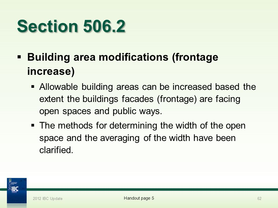 Section 506.2 Building area modifications (frontage increase)