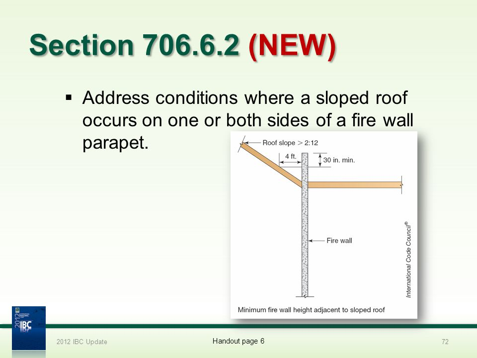 2012 IBC Update 4/1/2017. Section 706.6.2 (NEW) Address conditions where a sloped roof occurs on one or both sides of a fire wall parapet.