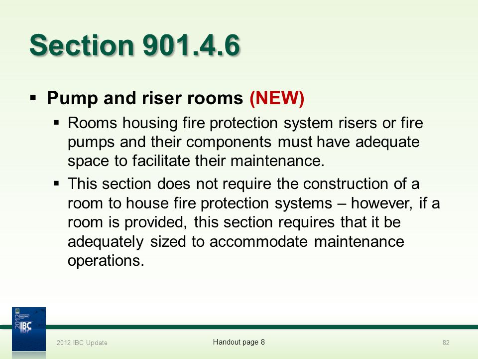 Section 901.4.6 Pump and riser rooms (NEW)