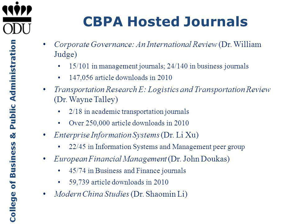 CBPA Hosted Journals Corporate Governance: An International Review (Dr. William Judge) 15/101 in management journals; 24/140 in business journals.