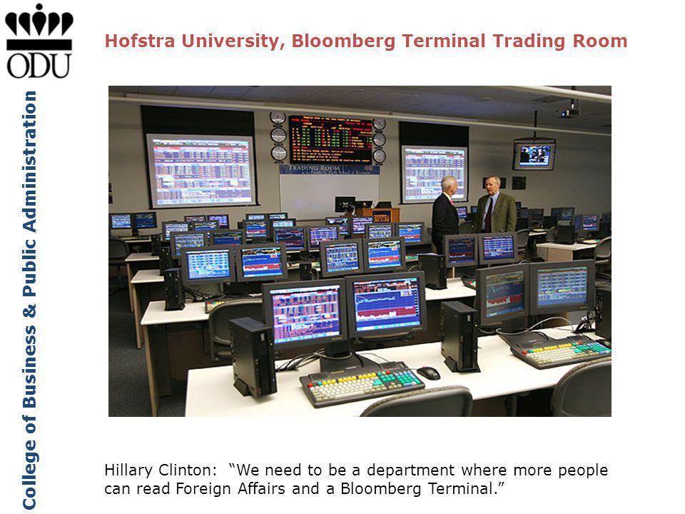 Hofstra University, Bloomberg Terminal Trading Room