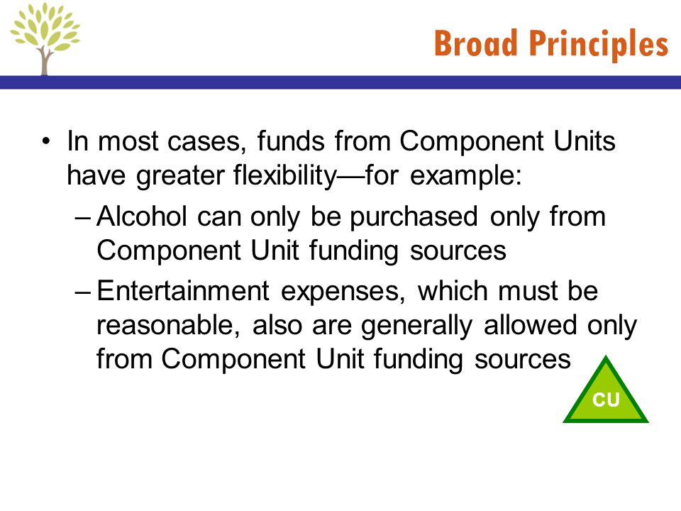 Broad Principles In most cases, funds from Component Units have greater flexibility—for example: