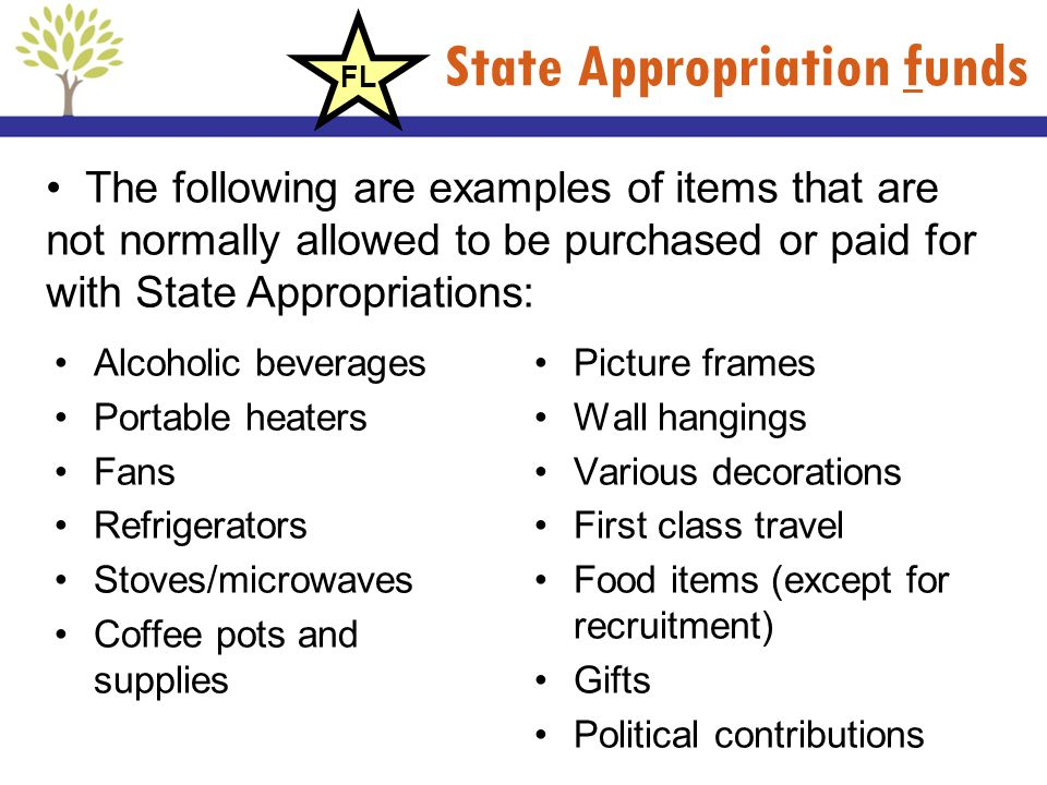 State Appropriation funds