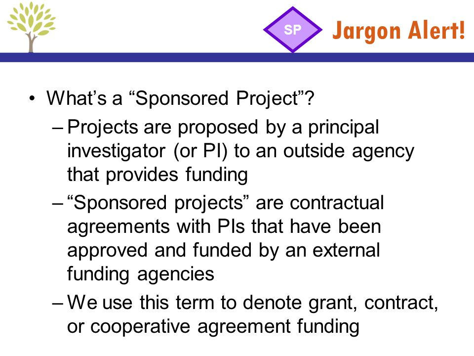 Jargon Alert! What's a Sponsored Project