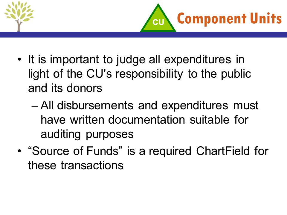 Component Units CU. It is important to judge all expenditures in light of the CU s responsibility to the public and its donors.
