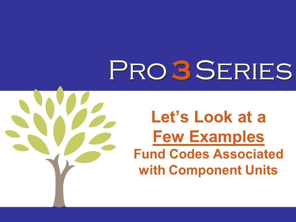 Let's Look at a Few Examples Fund Codes Associated with Component Units