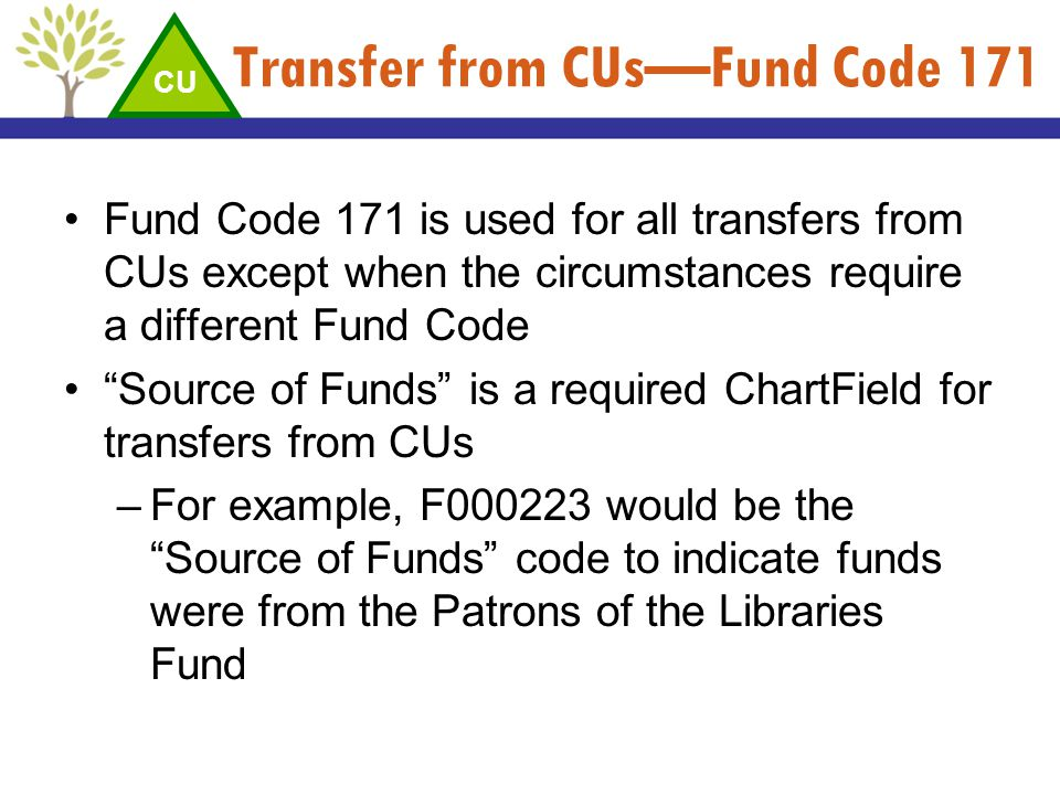 Transfer from CUs—Fund Code 171