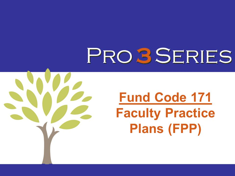 Fund Code 171 Faculty Practice Plans (FPP)