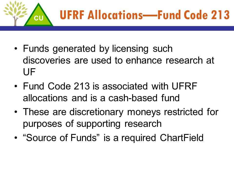 UFRF Allocations—Fund Code 213