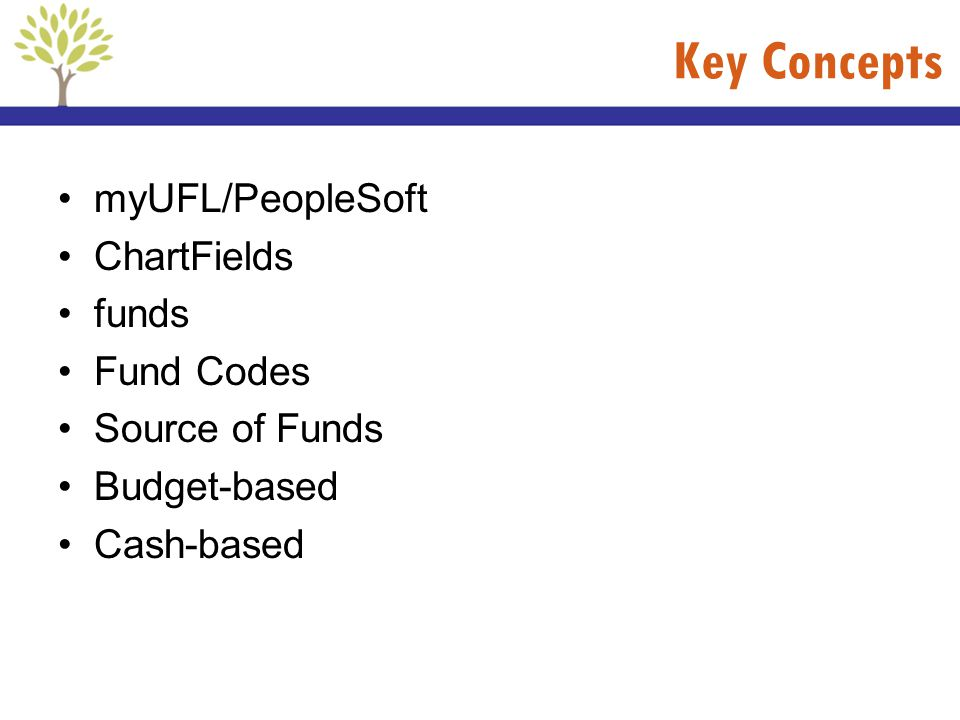 Key Concepts myUFL/PeopleSoft ChartFields funds Fund Codes
