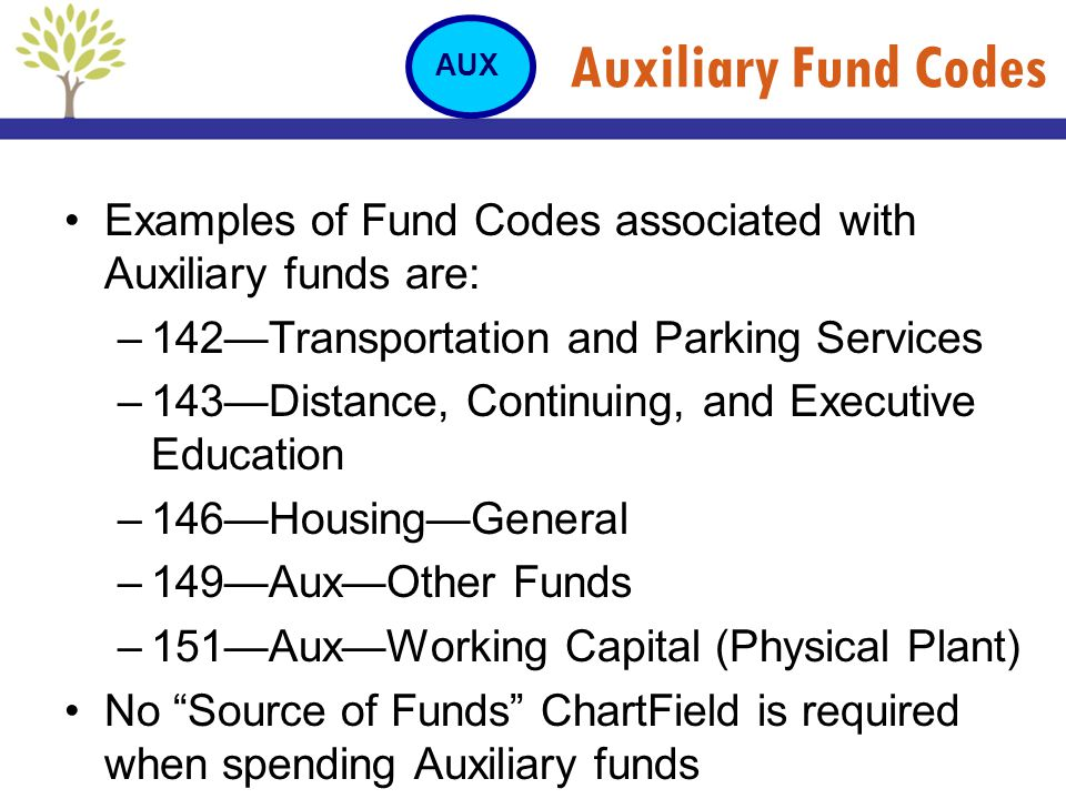 Auxiliary Fund Codes AUX. Examples of Fund Codes associated with Auxiliary funds are: 142—Transportation and Parking Services.