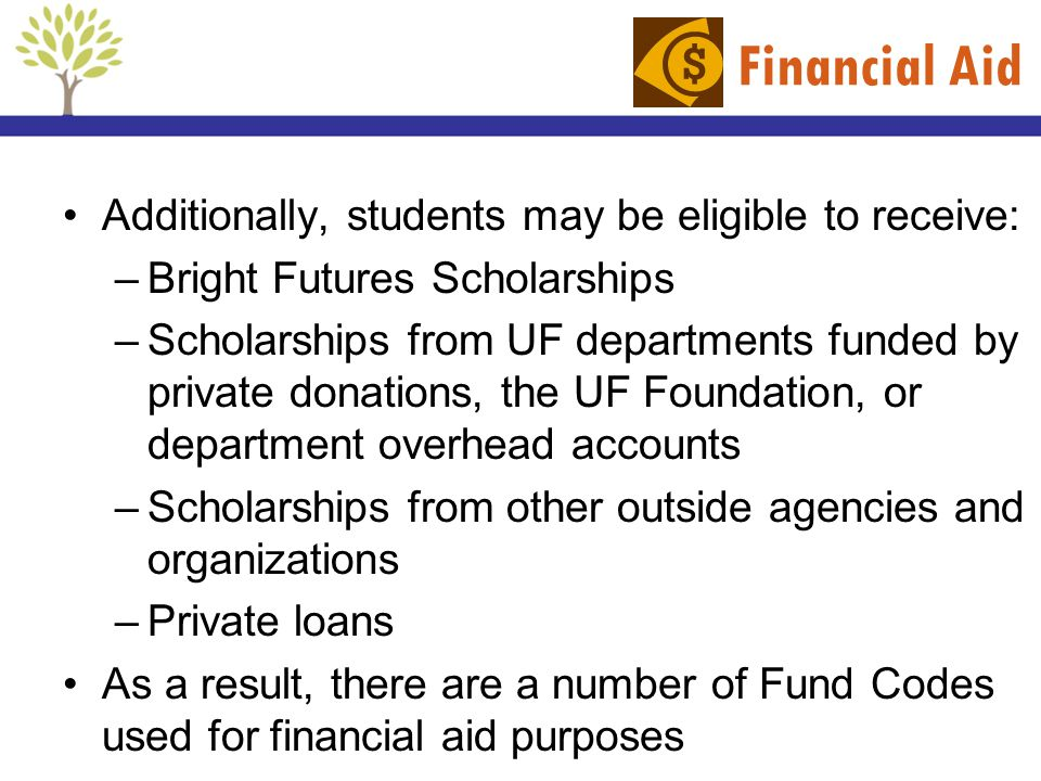 Financial Aid Additionally, students may be eligible to receive:
