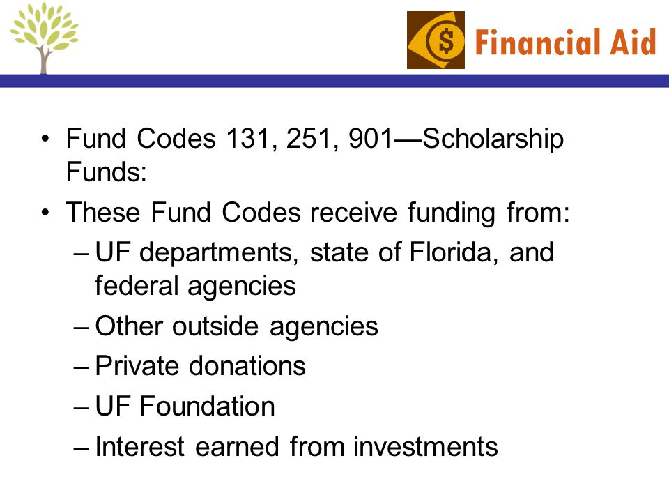 Financial Aid Fund Codes 131, 251, 901—Scholarship Funds: