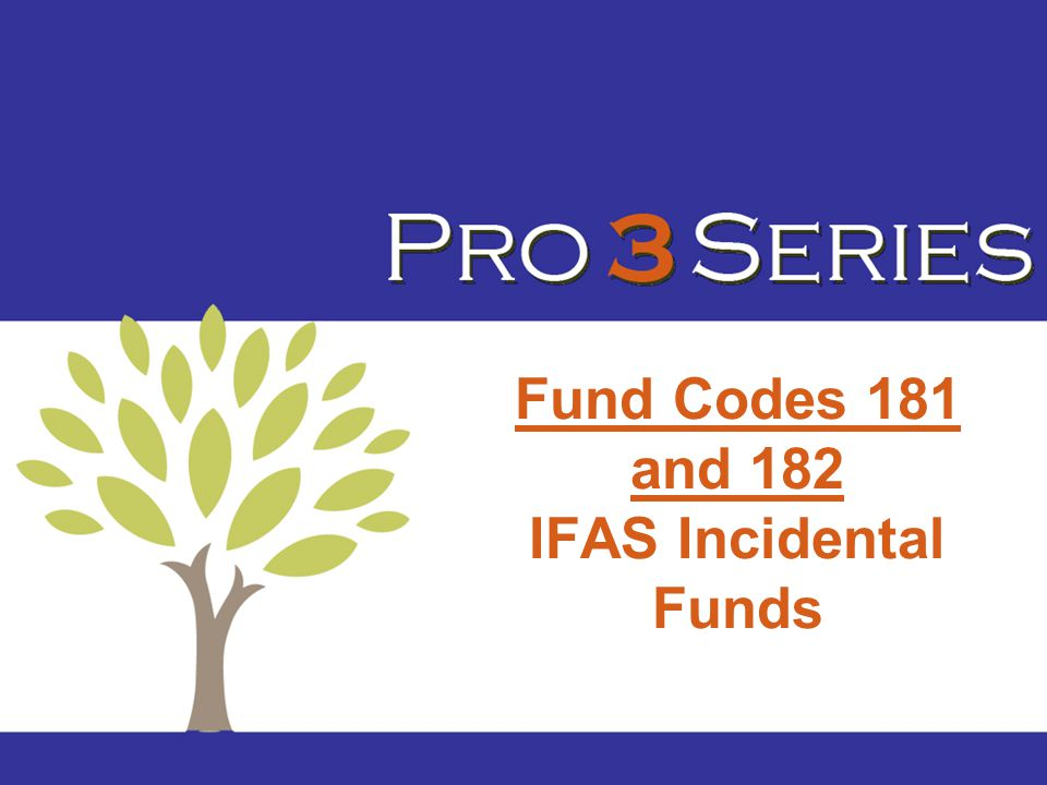 Fund Codes 181 and 182 IFAS Incidental Funds